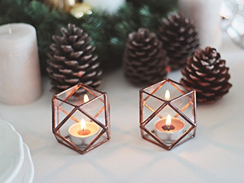 Glass Geometric Candle Holders, Christmas Lights, Halloween Decor, Stocking Stuffer, Wedding Table Decor, New Year's Gift, Copper Home Decor, Hurricanes, Stained Glass Candle Holder Set by Waen (Contemporary Menu Holder)