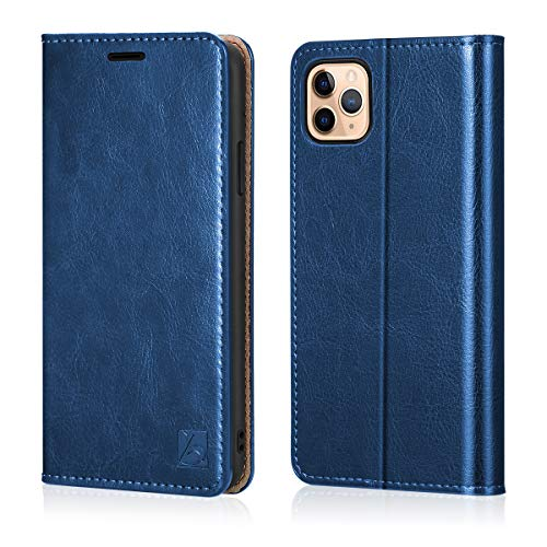 Belemay iPhone 11 Pro Wallet Case, iPhone 11 Pro Case, [Genuine Cowhide Leather Case] Slim Folio Book Flip Cover Card Holder Slots, Kickstand, Cash Pockets Compatible iPhone 11 Pro (5.8-inch), Blue (Case Iphone Book Cover)