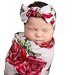 Newborn Baby Receiving Blanket Headband Set Flower