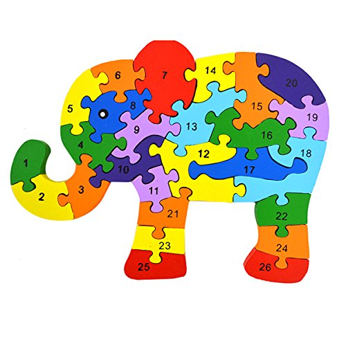 (Queena Kids Wooden Building Jigsaw Puzzle 26 English Alphanumeric Numbers Children Educational Blocks Toys Preschool Educational Toy Elephant)