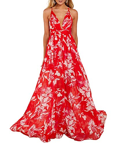 Remelon Womens Sexy Spaghetti Strap Deep V Neck Floral Boho Criss Cross Backless Chiffon Beach Party Long Maxi Dress Red S