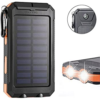 F.Dorla 20000mAh Power Bank Solar Charger Waterproof Portable Phone Charger External USB Battery Charger Built-in LED Flashlights with Compass for iPad iPhone Android cellphones