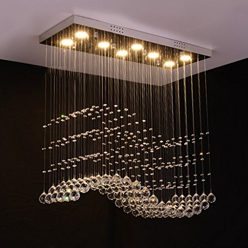 HOMEE Ceiling Chandelier-Crystal Chandeliers Modern Simple Living Room Dining Room Bar Rectangle Restaurant Chandeliers,Warm Light-802080Cm by HOMEE