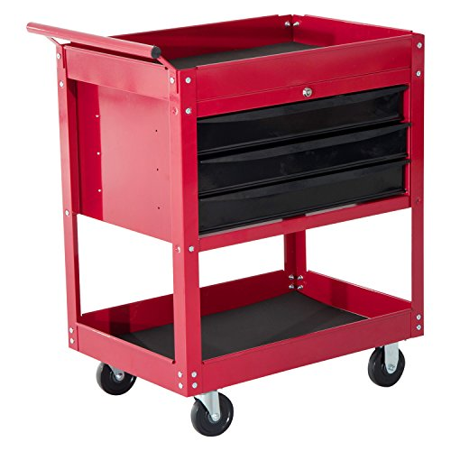 HomCom 3-Drawer Top Storage Rolling Tool Chest Cart - Red by HOMCOM