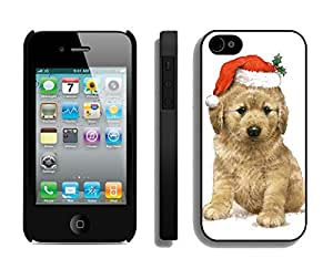 New Design Naughty Dog Wear Christmas Hat Black TPU Case For Iphone 4s,Apple Iphone 4 Case
