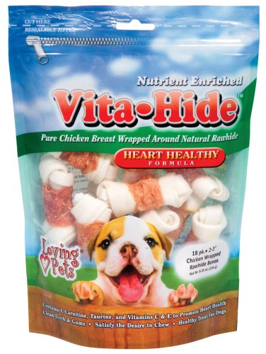 Loving Pets Vita-Hide Heart Healthy Formula with Chicken Dog Treat, 2-3-Inches, 18/pack, My Pet Supplies