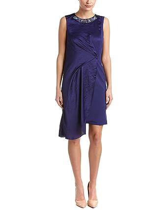 Karen Millen Womens Draped Sheath Dress Us 8 Uk 12 Blue At