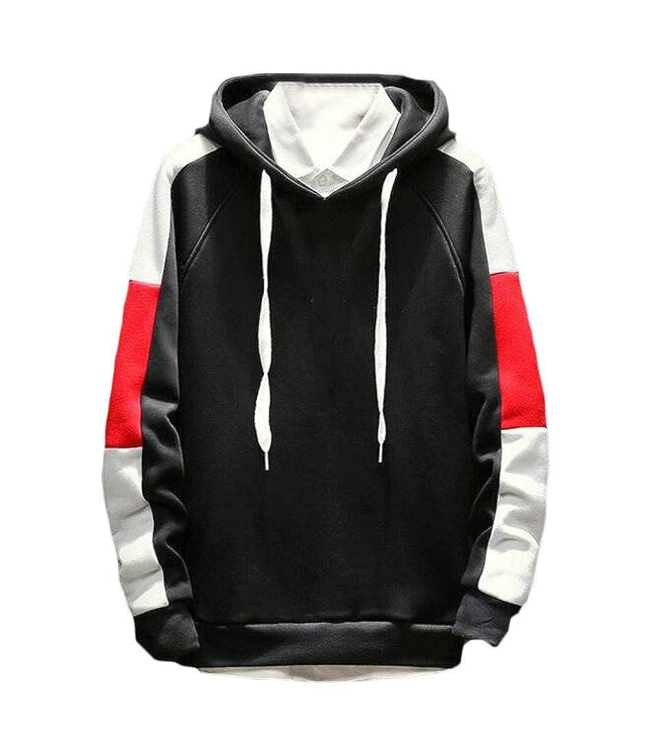 Macondoo Men Contrast Color Classic Drawstring Pullover Hoodie Slim Sweatshirts