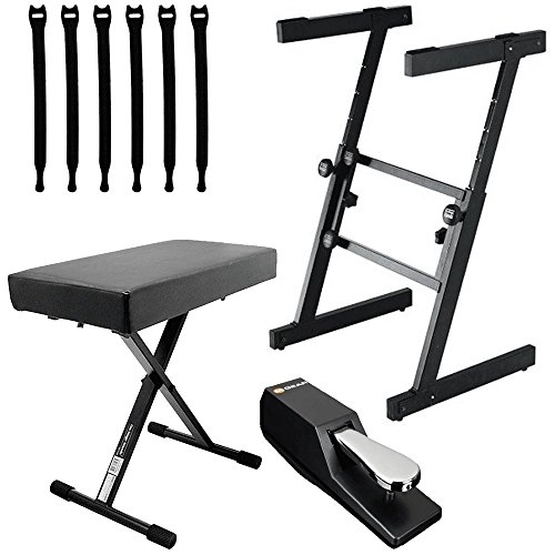 On Stage KS7350 Pro Heavy Duty Folding Z Keyboard Stand + Bench + Pedal + Strapeez - Top Value Accessory Bundle!! by OnStage