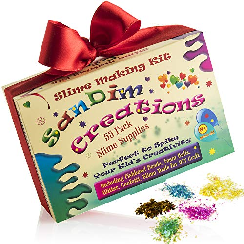 Slime Supplies Kit - Foam Beads for Slime - Slime Making Kit - 55 Pack Slime Add Ins - Includes Fishbowl Balls - Glitter - Craft DIY Set - Perfect to Spike Your Kid's Creativity - by SanDim Creations ()