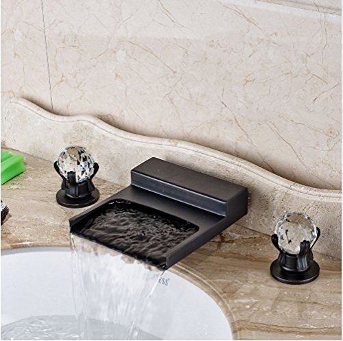 Gowe Widespread LED Waterfall Spout Bathroom Sink&Tub Faucet Oil Rubbed Bronze Deck Mounted Double Handles 3 Holes 2
