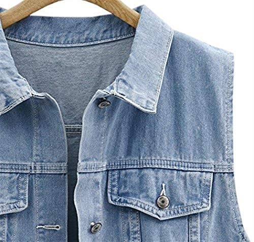 Femme sans Mode D Grande Chic Longues Taille Jeans Vestes Gilet Manches Vintage Jean TgwBBq
