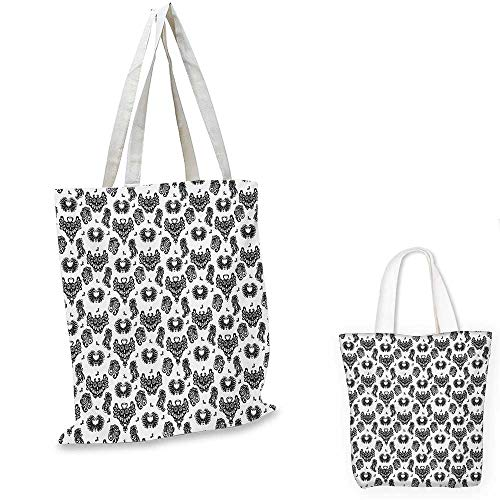 Gothic canvas messenger bag Victorian Floral Motifs and Artistic Owl Figures Classical Vintage Flourishes canvas beach bag Black Grey White. 12