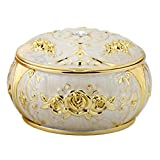 Honoro Vintage Ashtray with Lid,Metal Windproof Cigarettes Ashtray with Gift Box for Home Office Tabletop Decoration,Gold Rose