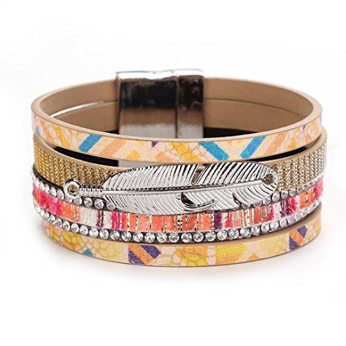 (Molyveva Womens Girls Leather Bracelet Silver Earth Feather Bangle Wrap Cuff Bangle Charm Bracelets (Yellow))