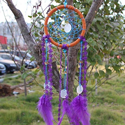 - Davitu Dream Catcher Shell Indian Handmade Wall Hanging Pendant Net with Feathers Christmas Decoration New Year Gift - (Color: As Seen on Picture)