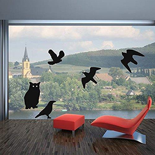Haierc Bird Stickers for Windows,Window Decals for Birds,Bird Window Deflectors,Window Alert,4 Pack with 10 Different Birds