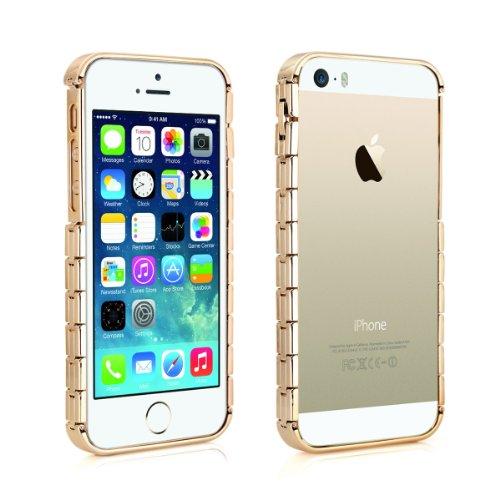 Alienwork Bracelet Schutzhülle für iPhone SE/5/5S Stoßfest Hülle Case Bumper Champagner-Gold Aluminium gold AP540-03