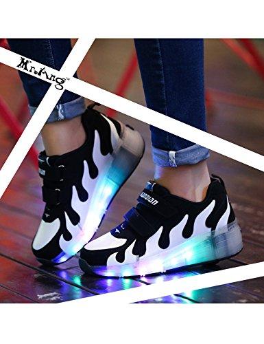 Mr.Ang Niños Unisex LED Luz Parpadea Ruedas Zapatillas Auto-párrafo Roller Zapatos Patines Deportes Zapatos Correr Para Niños Navidad Año nuevo Regalo 031 negro blanco
