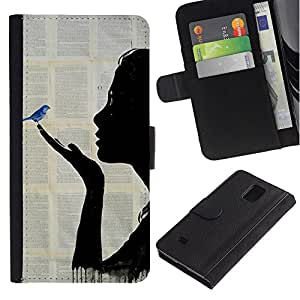 Billetera de Cuero Caso Titular de la tarjeta Carcasa Funda para Samsung Galaxy Note 4 SM-N910 / Book Fairytale Blue Bird Painting / STRONG