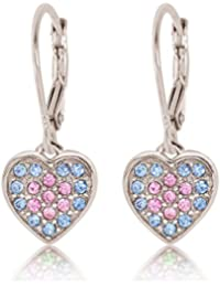 Kids Earrings - 925 Sterling Silver with a White Gold Tone Classic Clear Heart Secure Leverback Earrings kids, children, girls, baby Made With Swarovski Elements