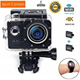 Sport Action Camera WIFI Waterproof Camera 2inch LCD Screen 170 Ultra Wide-Angle Lens,2pcs Rechargeable battery and kits of accessories (4K)