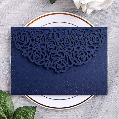 YIMIL 20 Pcs 5.12 x 7.21 inch Tri-fold Laser Cut Wedding Invitation Pocket for Wedding Quinceanera Bridal Shower Baby Shower Party Invite (Navy Blue)