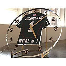 FanPlastic College Football USA - We're Number ONE American Football Desktop/Table Clocks - Support Your Team !!! (Michigan State Spartans)