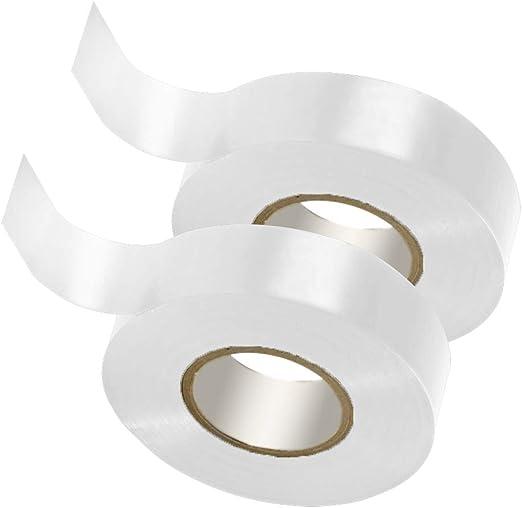 GTSE Cinta aislante el/éctrica de PVC 3 rollos de cinta color blanco 20 m x 19 mm