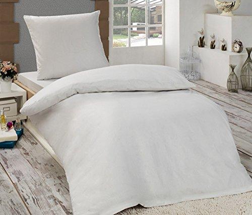 2 tlg. Biber 100% Baumwolle Winter Bettwäsche ,135x200 + 80x80 in UNI mit Reißverschuss Winterbettwäsche Dreamhome24 40x80 Kissenbezug, Variante:WEISS