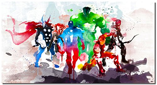 (Picture Sensations® Framed Canvas Art Print, Abstract Watercolor Marvel Avengers Super Hero Wall Canvas Art - 36
