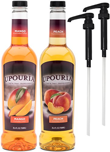 Upouria Mango & Peach Flavored Syrups, 100% Vegan and Gluten-Free, 750ml bottles - Set of 2 - Pumps included ()