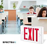 SPECTSUN Led Exit Sign with Arrow, Red Exit Light&Double Sided Exit Sign - 2 Pack, Exit Led Light/Exit Sign Battery Powered/Electric Exit Sign Light Up/Hanging Exit Sign Bulbs/Lighted Exit Light Bulbs