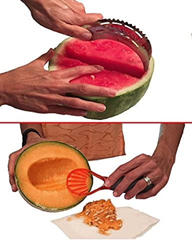 Kitchen Gadgets Set By Gadget Pro - Stainless Steel Watermelon Slicer/Server & Multifunction Fruit/Vegetable Seeder Making Healthy Snack Prep A - Tomato Pro Cutter