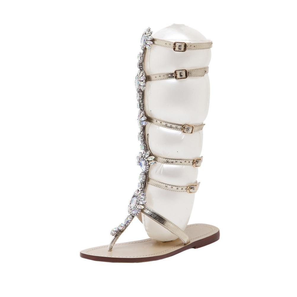 Beautyjourney Sandales Strass Femmes, Sandales Dorees Femme Sandales Montantes,Fille Plat Brillant Strass ChaîNe Sandales Bottes T-Strap Chaussures
