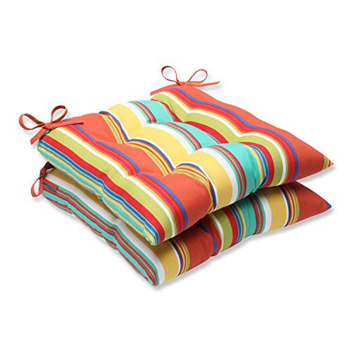 Pillow Perfect Outdoor Westport Spring Wrought Iron Seat Cushion, Multicolored, Set of 2 (Wrought Iron Bench Seat)