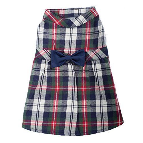Navy Plaid Dress, Navy Multi, M
