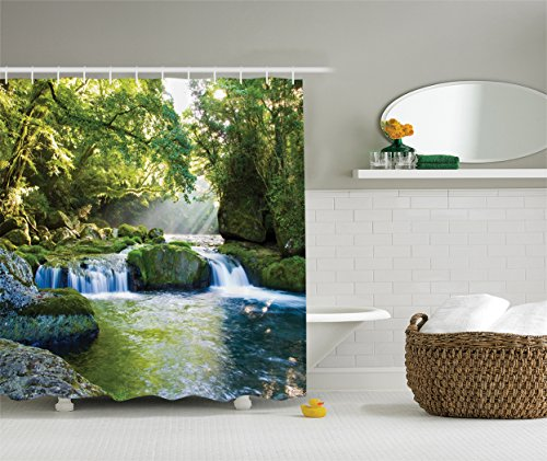 Rainforest Waterfall Decor Shower Curtain by Ambesonne,