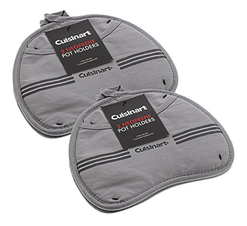 Cuisinart Kidney Shaped Potholder w/Neoprene and Pocket for Easy Handling, Heat Resistant up to 500 degrees F, Grey - 4pk by Cuisinart