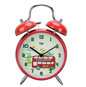 NAOZHONG Reloj Despertador Personalizado para Niños de Dibujos Animados Dormitorio Lindo Asiento Mudo Reloj de Escritorio de la Escuela Primaria Escritorio ...