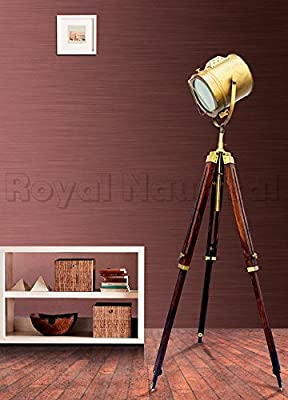 Royal Nautical Antique Brass Floor Standing Spot Light Searchlight Spotlight Wooden Tripod Floor Lamp Lighting Stand
