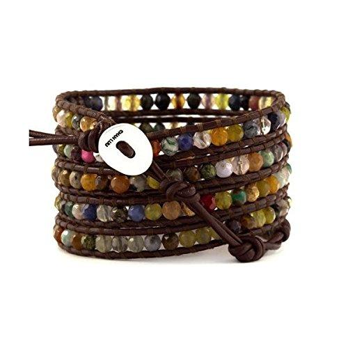 Chan Luu Multi Stone Wrap Bracelet on Brown Leather by Chan Luu