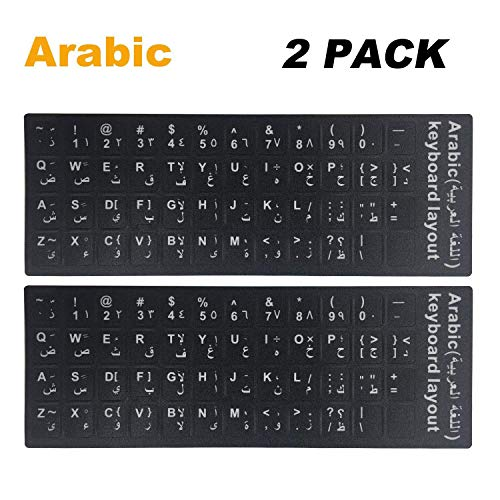 "([2PCS Pack] FORITO Arabic Keyboard Stickers, Arabic Keyboard Stickers Black Background with White Lettering for Computer, Each Unit Size: (Width) 0.43"" x (Height) 0.51"" (Arabic))"