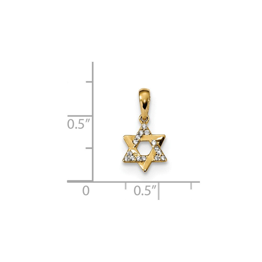 Jewel Tie 14k Yellow Gold Childrens CZ Cubic Zirconia Star of David Pendant 8.65mm x 16.3mm