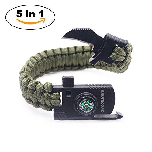 Paracord Survival Bracelet Kit - Military Parachute Rope Survival for Camping Hiking Fishing Travelling - Compass, Flint Stone, Fire Starter, Knife, Whistle - Military