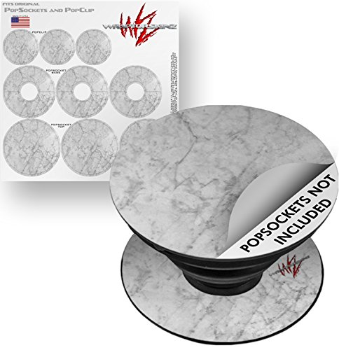 Decal Style Vinyl Skin Wrap 3 Pack for PopSockets Marble Granite 09 White Gray (POPSOCKET NOT INCLUDED) by WraptorSkinz