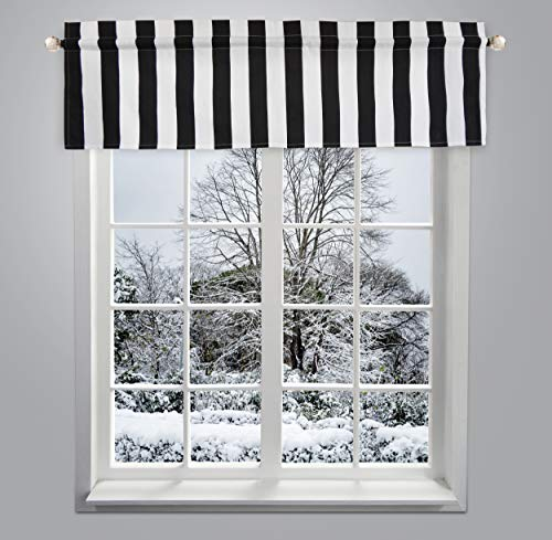 Crabtree Collection Curtain Valance for Windows Classic Black Striped (16 x 60) ... (Window Valance Striped)