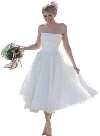 Summer Short Beach Wedding Dress For Bride 2019 Vintage Tea Length Wedding Gowns At Amazon Women S Clothing Store
