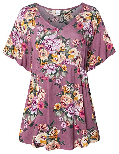 (FANSIC Women Floral Print Tops,Casual Short Sleeve Empire Waist Babydoll V Neck Tunic Blouses Pastel Pink XX-Large)
