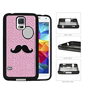 Pink Glitter Mustache Trend Rubber Silicone TPU Cell Phone Case Samsung Galaxy S5 SM-G900